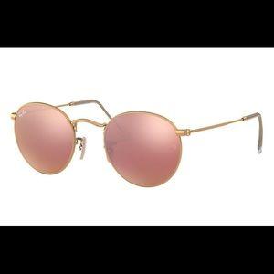 Ray-Ban Round Metal Mirrored Flash Sunglasses